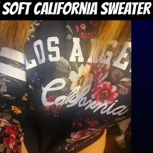 Sweaters - Soft Los Angeles California Floral Navy Sweater
